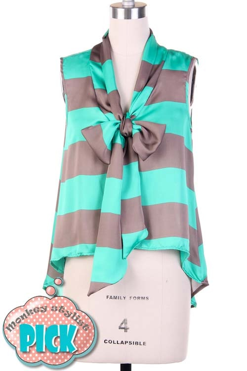 Mint Blouse With Bow 95