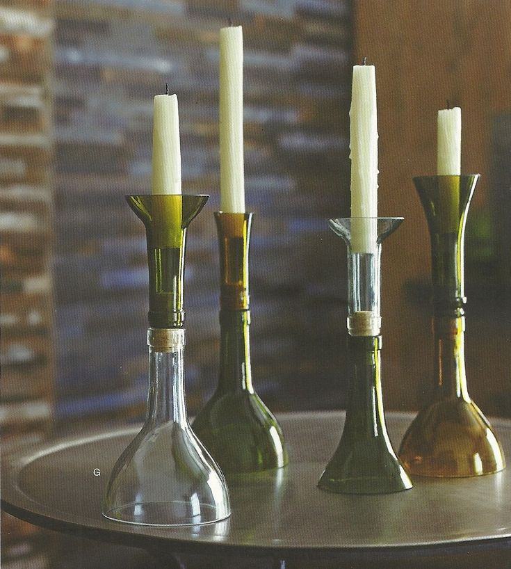 Recycled Wine Bottle Candle Holder Craft Ideas Pinterest