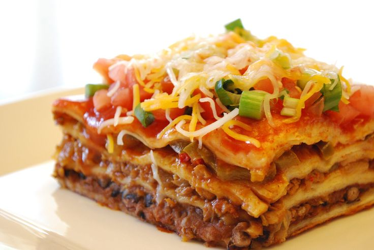 Mexican Lasagna: 3 flour Tortillas; 1 lb ground beef; 1/2 C. chopped ...
