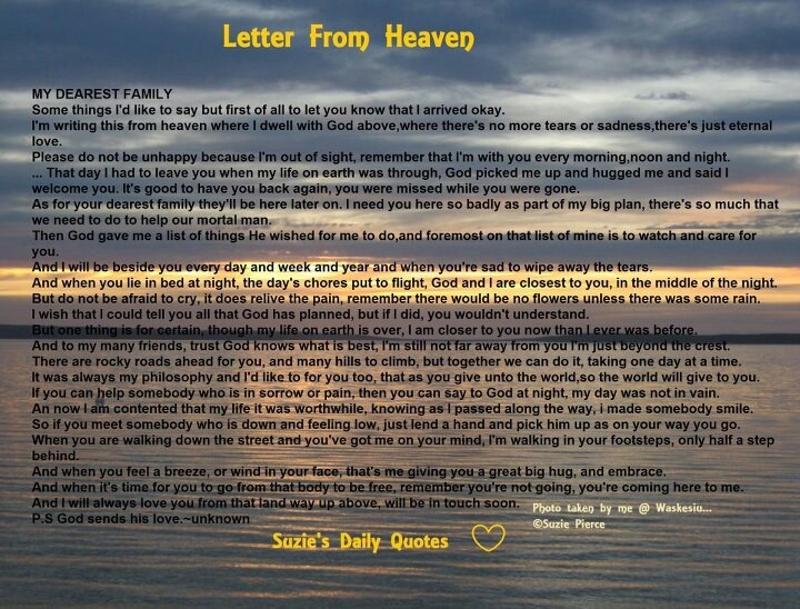 Letters From Heaven Quotes QuotesGram