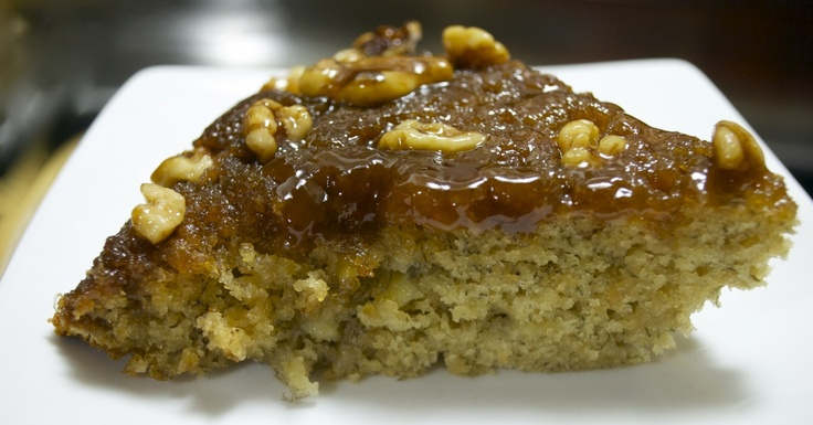 Caramel Walnut Banana Upside Down Cake -- perfect!! Moist and full of ...