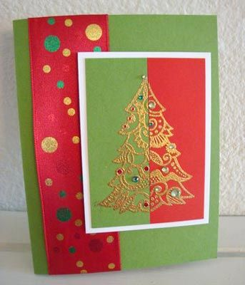 Love the overlapping color embossed tree