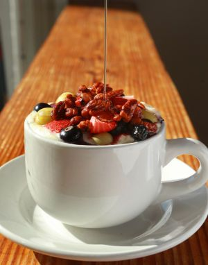 Special Request: Candied pecans, raspberries, syrup top Half & Half oatmeal