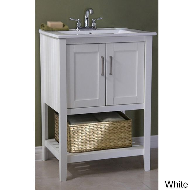 Ceramic top 24 inch single sink bathroom vanity and basket for Bathroom 24 inch vanity