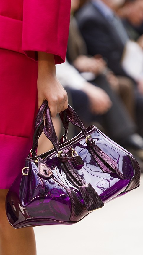 The Blaze bag in bold purple heather from the Burberry SS13 runway