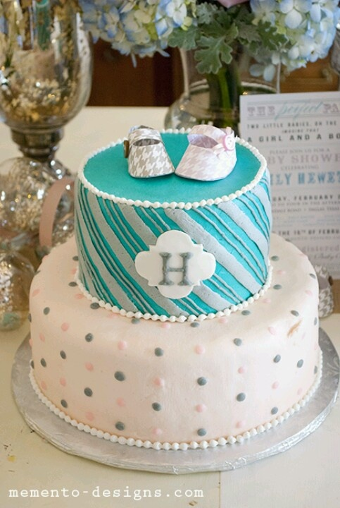 Dots and strips to go together. Great cake idea for baby shower.