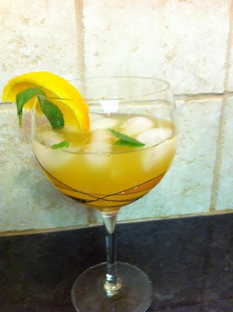 Pineapple Sangria! Used pear brandy and put the orange slices into the ...