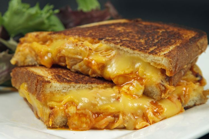 buffalo chicken grilled cheese sandwich with gorgonzola crumbles