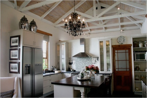 Exposed ceiling beams white on wood kitchen pinterest for Vaulted ceiling with exposed beams