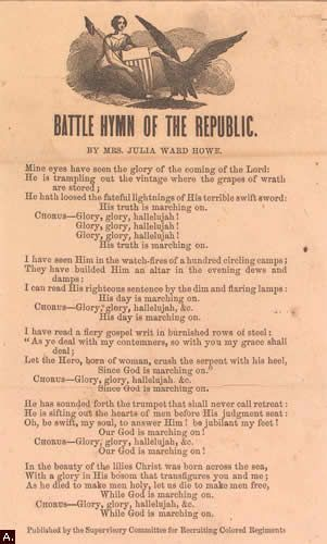 the battle hymn of the republic Lyrics to battle hymn of the republic song by judy collins: mine eyes have seen the glory of the coming of the lord he is trampling out the vintage where the g.