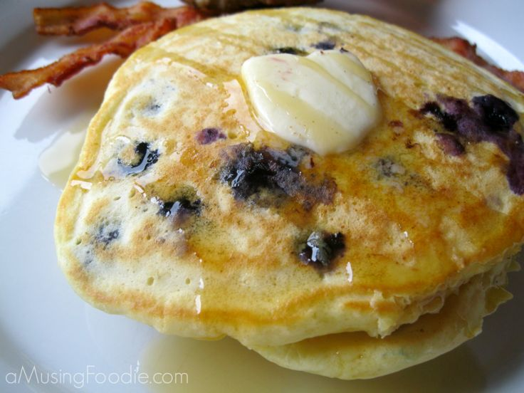 easy blueberry pancakes....I put chopped banana and pecans in half of ...