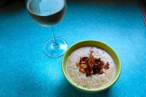 Roasted potato and leek soup with crispy shallots