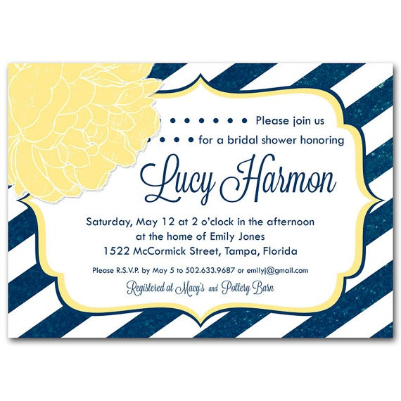 Navy and yellow bridal shower invitation, baby shower, stripes ...