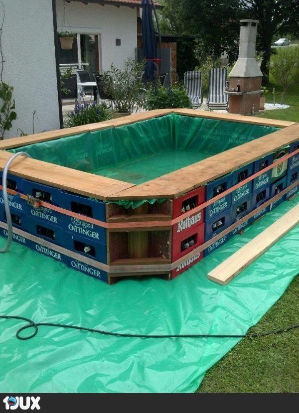 pool aus bierkisten garden pinterest. Black Bedroom Furniture Sets. Home Design Ideas