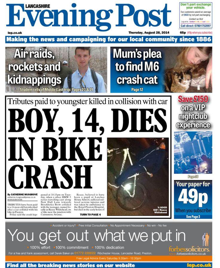 ... Evening Post front page - 28/08/14 - Boy, 14 dies in bike crash
