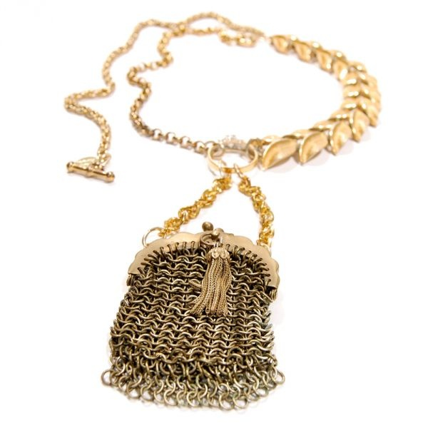 Chainmail bag necklace