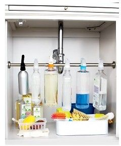 DIY Under Sink Organizer.. Fantastic ideal! If possible the rod should go behind the drains to maximize storage space, and fit small things in the back of the sink