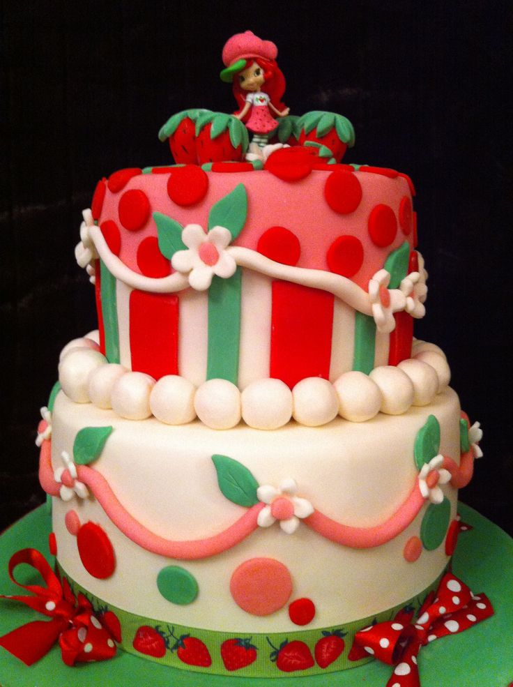 strawberry shortcake tier cake this cake was made for a baby shower