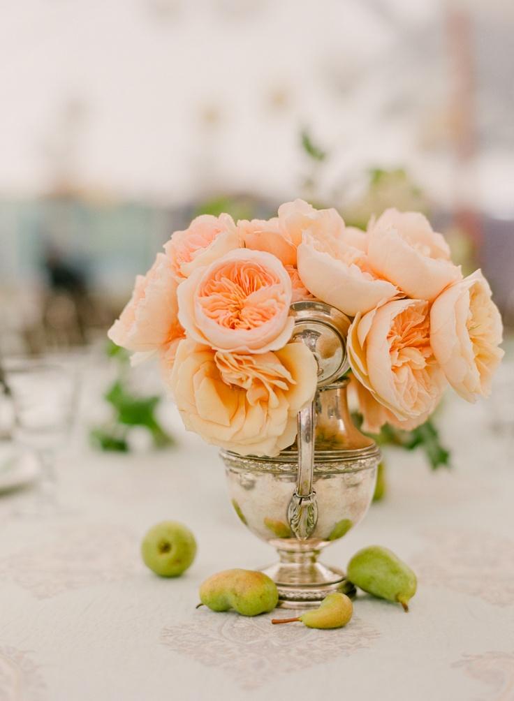 Peach Garden Roses Coral Wedding Pinterest
