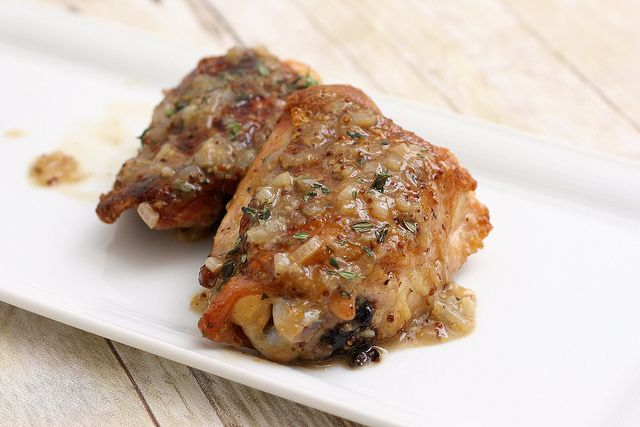 Pan-Seared Chicken Thighs w/Beer and Grainy Mustard Sauce by Tracey's ...