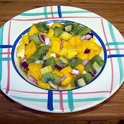 Mango Kiwi Salsa with Reduced Balsamic Lime Sauce_Caribbean Recipe_is ...