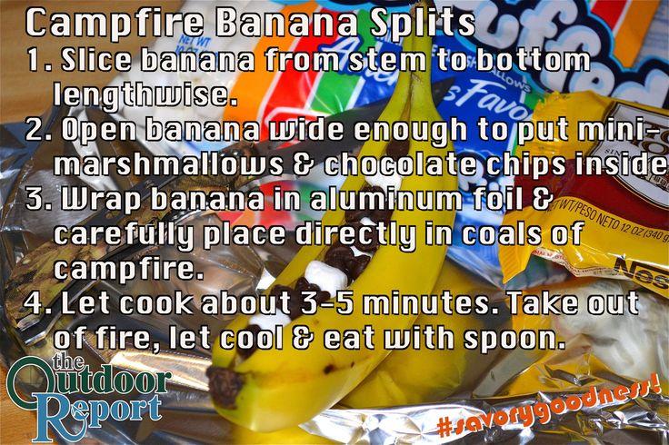 Campfire Banana Splits! #Recipe #Desserts #Campfire