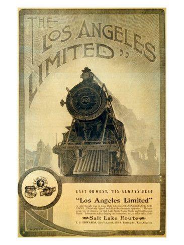 Union pacific los angeles locomotive for Vintage train posters