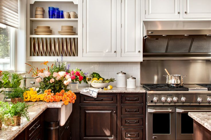 Good example of white upper cabinets and dark lower cabinets and white