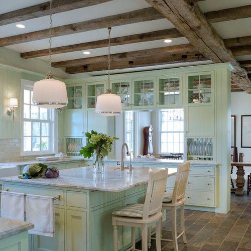 this farmhouse kitchen island , farmhouse kitchens and mint green