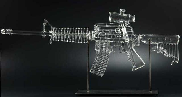"""Life-size, Glass Assault Rifle """"Pipes"""""""