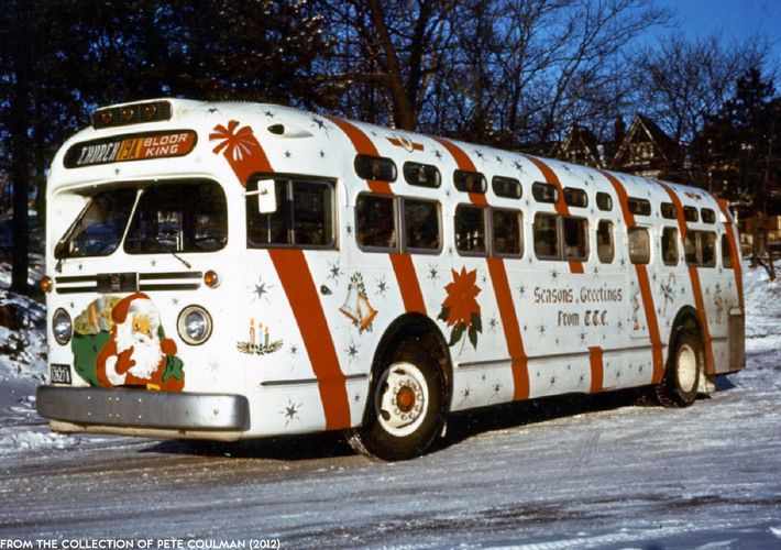 Christmas bus 1956 taken from a TTC postcard ~ from TTC website
