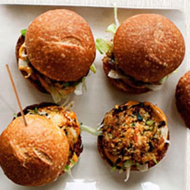 Open-Face Crab Burgers With Red Pepper Dressing Recipes — Dishmaps