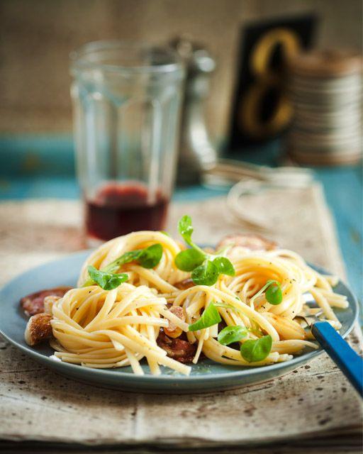 Pasta with Pancetta, Garlic, Lemon & Olives