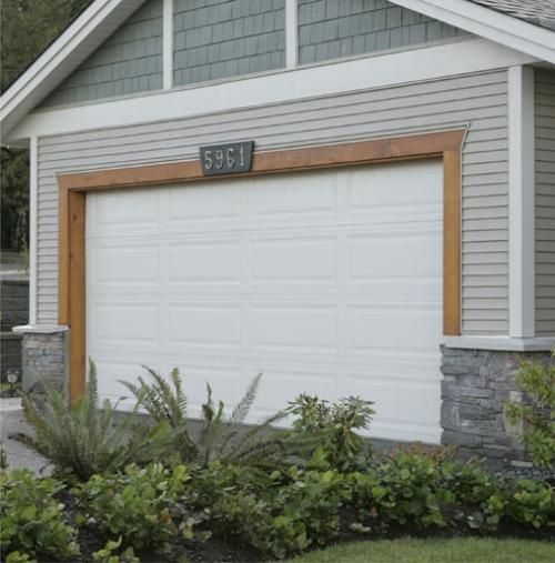 Stain wood trim around garage door house exterior ideas for Wood trim around doors