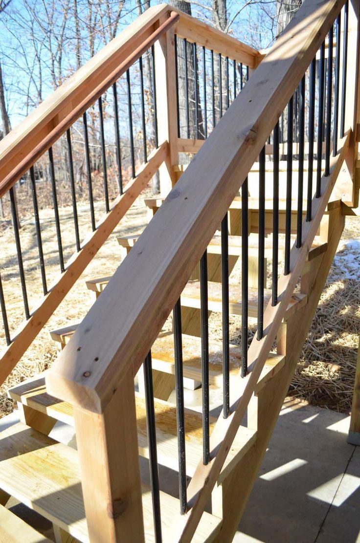 Deck rail cedar w aluminum spindles deck ideas pinterest for Garden decking hinckley
