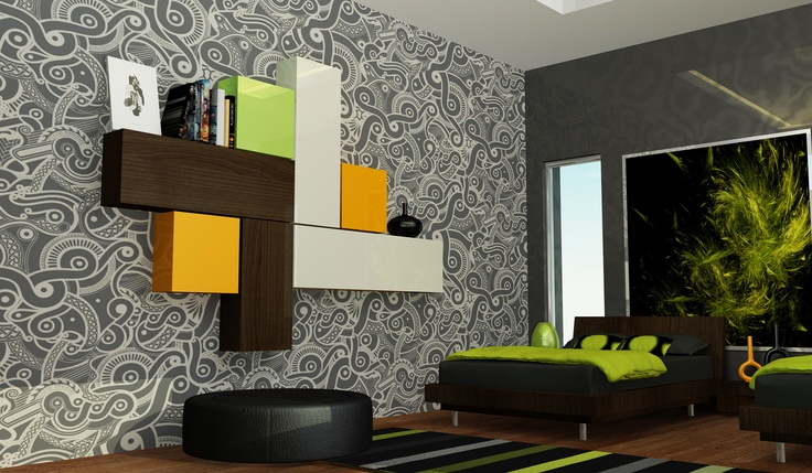 Black green boys bedroom house projects pinterest Green and black bedroom
