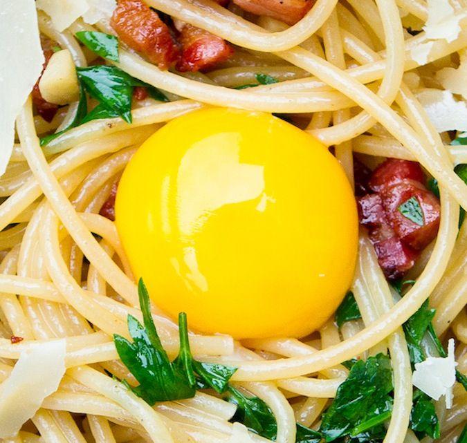 Pasta Carbonara ~ A delicious dish and a beautifully coddled egg!
