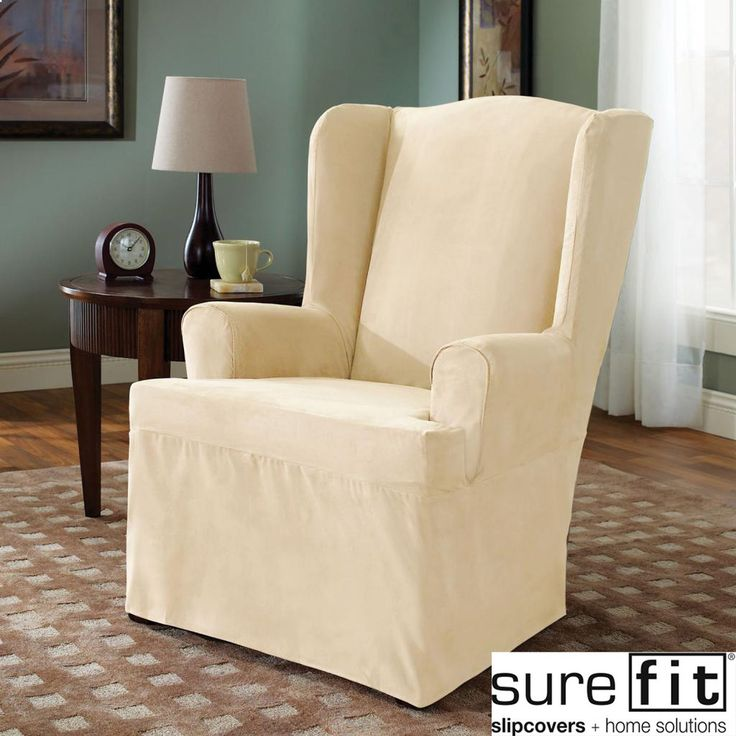 Sure Fit Cream Wing Chair Cover