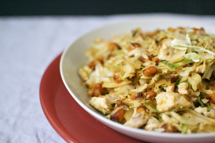 Cabbage with roasted chicken and sweet potatoes