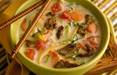 Thai Beef Soup with coconut, lemongrass, and noodles | Recipe
