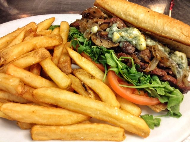 Flank Steak Sandwich, mustard aioli, grilled onions, mushrooms, tomato ...