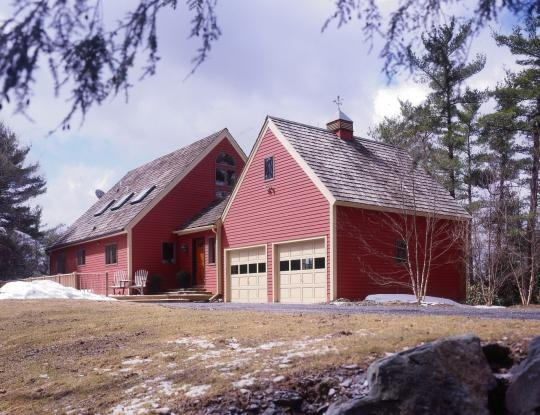 Red timber frame barn home with cupola timber frame for Houses with cupolas