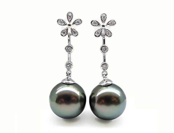 black pearl drop earrings black formal