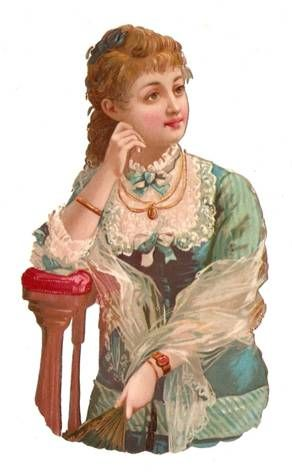 Victorian Die Cut Paper Doll Lady Dress Scrap