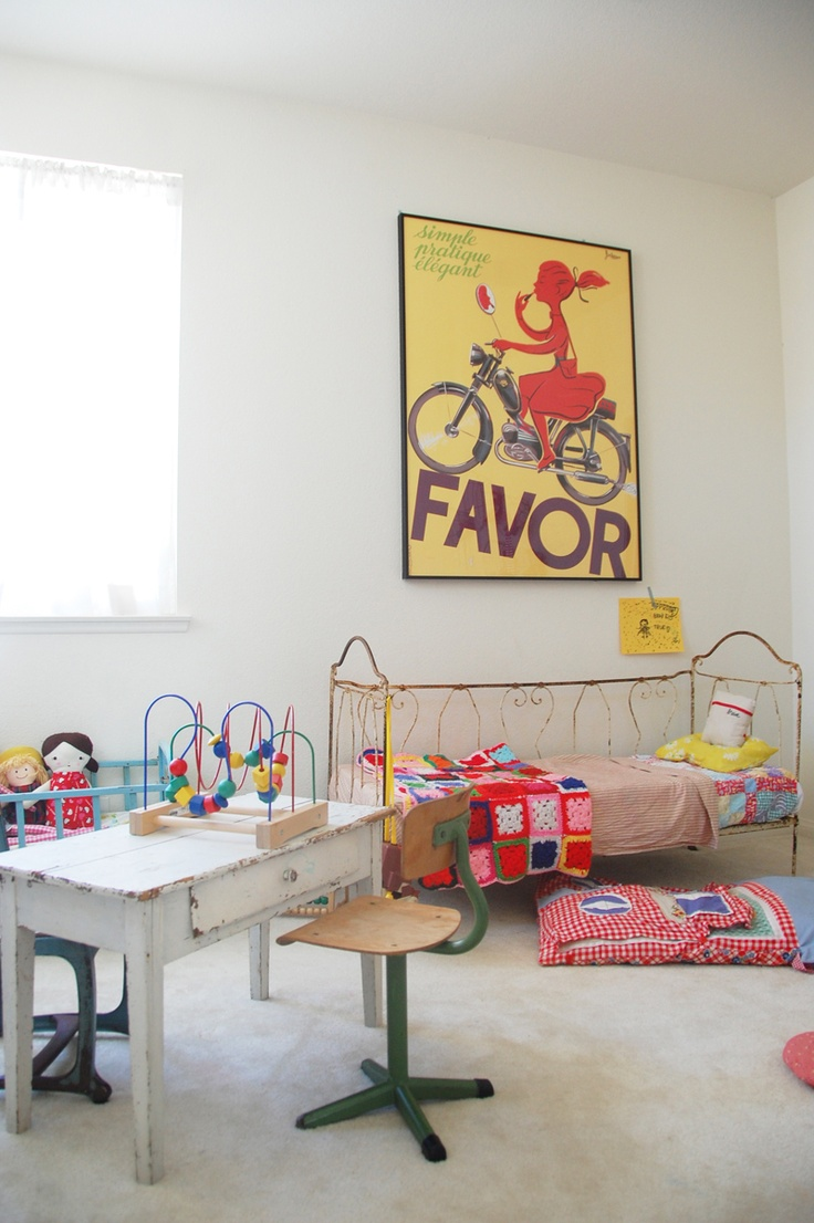 Bright and fun kids room! Love the use of vintage furniture and retro poster. I want this room....littlelostwonders.com.au