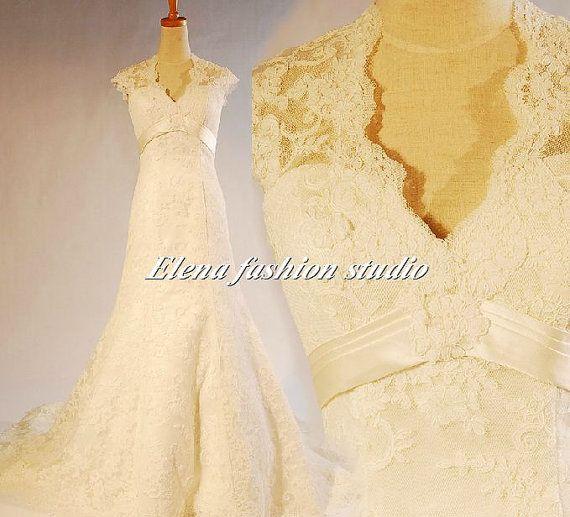 Vintage lace wedding dress aline lace wedding gown by elenawedding