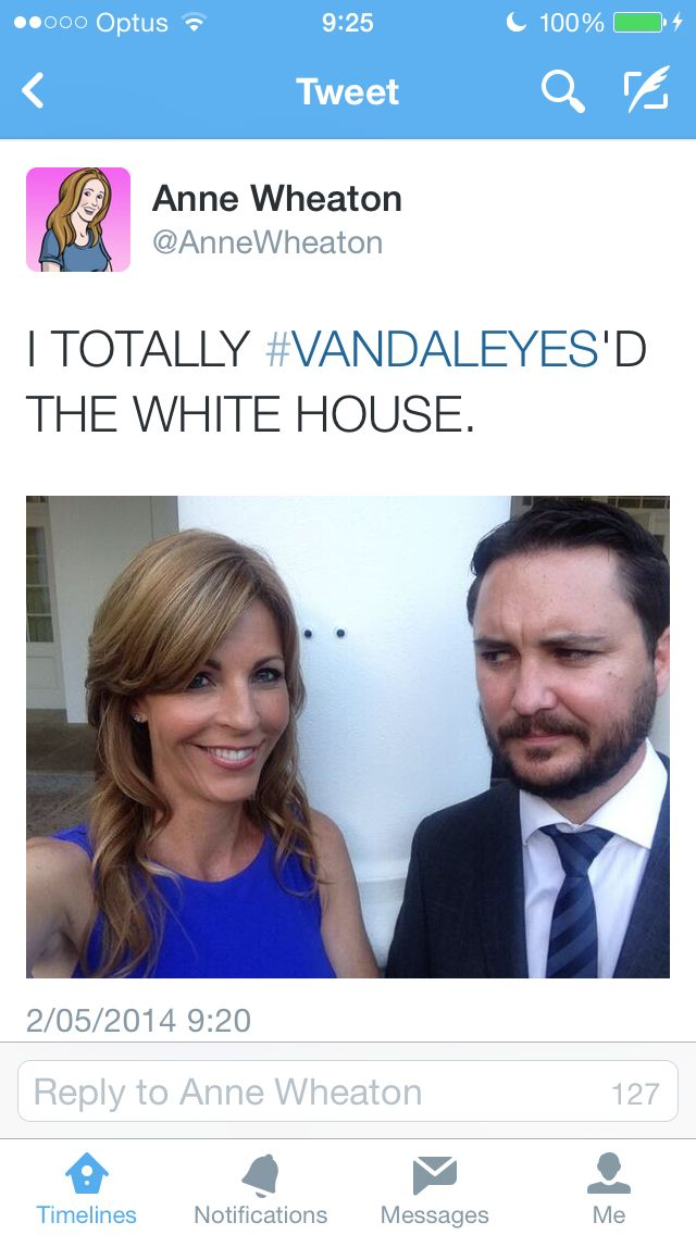 Anne and Wil Wheaton at the White House. | Geek is Good | Pinterest: pinterest.com/pin/105130972526167429