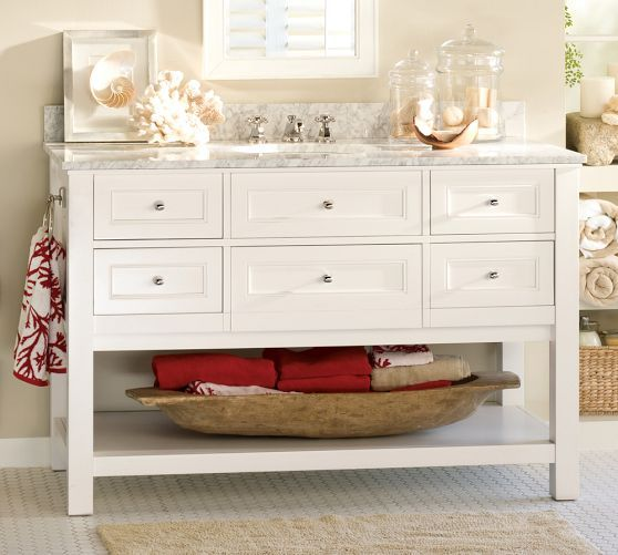 ... Wide Sink Console - White Pottery Barn with Double sink instead