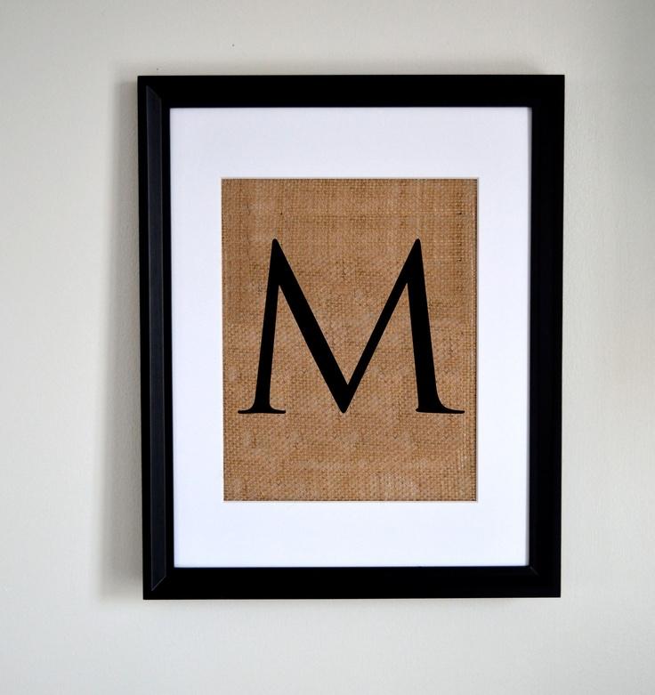 Letter M Monogram Alphabet Burlap Wall Decor FRAME IS INCLUDED