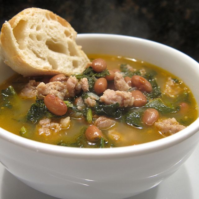 kale, sausage, bean soup   nourish me   Pinterest